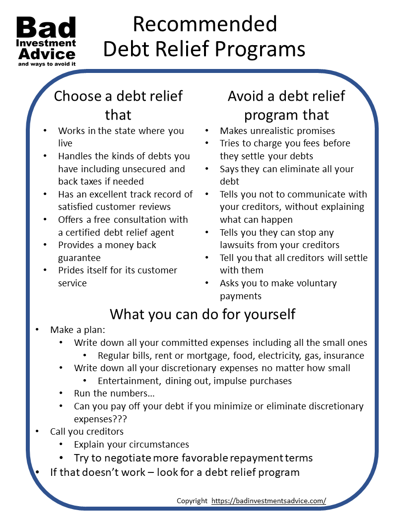 Recommended debt relief programs summary